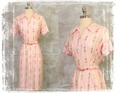 Vintage 1940s Dress, 1940s Cotton Floral Dress, Pink Dress, Valentines Dress, Day Dress, Medium