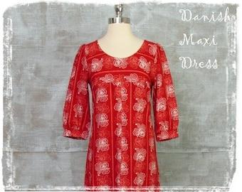 1960s Dress, Maxi Dress, Danish Dress, Floral Dress, Red Dress, Long Dress, Charlotte, Small