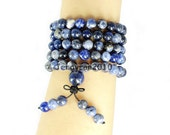 Natural 8mm Sodalite Gemstone Buddhist 108 Beads Prayer Mala Multi-Purpose Stretchy Bracelet Necklace Healing