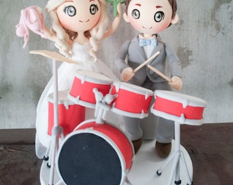 Wedding Cake topper Drummer and Ballerina clay doll,drum set clay miniature, engagement clay figurine decoration,personalized wedding topper