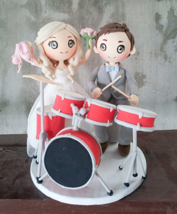 drummer wedding cake topper wedding cake topper drummer and ballerina clay dolldrum set 13755