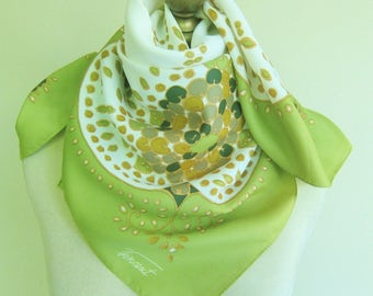 1970s scarf, vintage scarves 70s, lime green scarf, mod scarf, hand washable, accent on fashion, 70s fashion, square headscarf, hairwrap