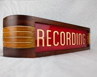 Recording Studio warning sign - Red/Vintage Cherry finish
