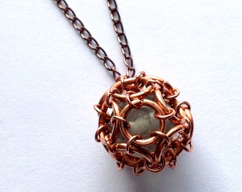 Fluorite Cage Pendant - Fluorite Bead Captured in Copper Chainmail Dodecahedron