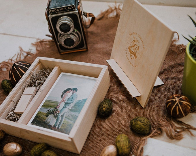 Featured listing image: 4x6 Wood print box with photo stand. Enough space for prints and usb drive - lid converts into a photo stand - square