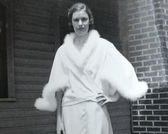Flapper in White Fur Antique Found Photo