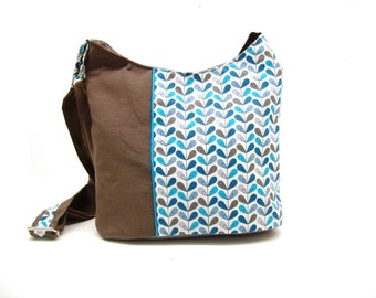 crossbody bag brown and turquoise graphic leaves , zippered bucket bag in canvas , women's bag in fabric