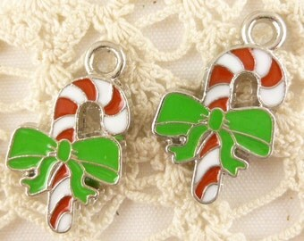 Peppermint Candy Cane with Bowtie Christmas Charm, Enameled (4)