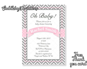 Pink Girl Baby Shower Invitation | Pink Baby Girl Shower Invite | Pink Baby Shower Invitation | Pink Ribbon Baby Shower Invitation Printable
