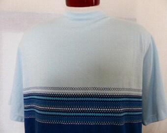 vintage 70's 80's Hang Ten color block light blue navy blue white graphic t-shirt abstract geometric diamond square pattern chest stripe XL