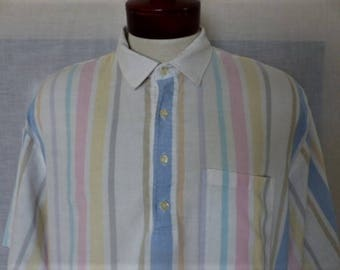 vintage 80's Eagleson's pastel rainbow sorbet color oxford fabric pullover 4 front button up short sleeve polo shirt men women unisex made i