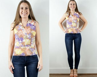 1970s Floral Sleeveless Shirt