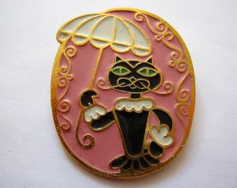 Vintage soviet USSR pin badge Black Cat with umbrella