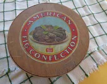 Round Banded Wooden Pantry Box With Advertisement Label, American Fig Confection