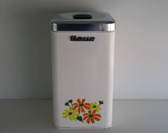Vintage METAL CANISTER/White w Flower Decor/Kitchen Storage/Flour Canister/