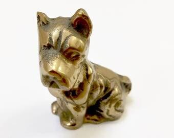 VINTAGE Brass Boxer Dog, Miniature Dog, Brass Boxer Figure