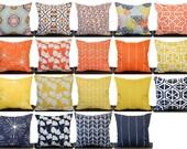 Pillow, Throw Pillow, Pillow Cover, Cushion, Decorative Pillow, orange yellow navy blue white, Monarch, Mimosa, Vintage Indigo, Spa Blue