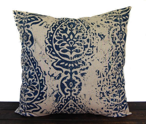 Navy Blue Pillow Cover Throw Pillow One Navy And Beige