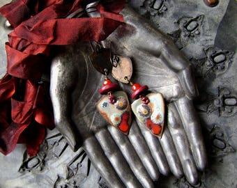 torch fired enamel assemblage earrings, ooak textured metal shield earrings, mixed media jewelry, boho chic, rustic bohemian, AnvilArtifacts