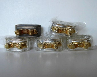 """5 Vintage Gold and Silver Bow Napkin Rings, 2 1/4"""" x 1 3/4"""", Wedding, Shower, table setting, gift idea"""