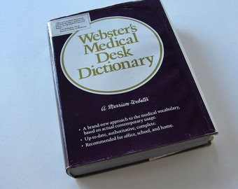 Vintage 1986 Webster's Medical Desk Dictionary, collectible text books, library reference book, library decor, gift idea