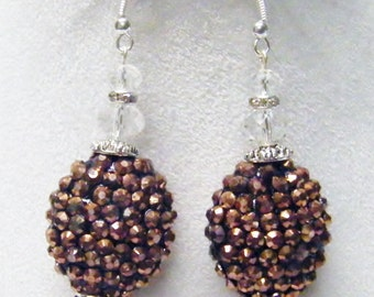 Oval Copper Rhinestone Ball Beads Earrings