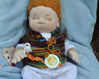"""Fretta's Newborn Baby Doll. Textile Empathy Doll. Pacifier Baby. Life Size Realistic looking jointed 50.8 cm /20"""" Soft Sculpture Doll"""