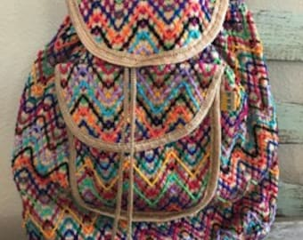 Mexican Embroidered Tan/Multi-Color Backpack