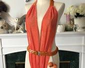 Disco Queen Tangerine Lurex Body Suit Teddy
