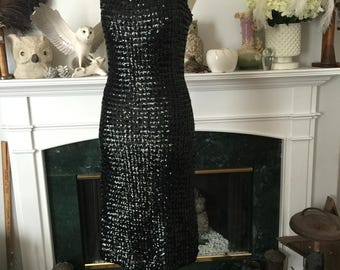 50s Full Seqined Black Wiggle Party Dress