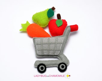 Shopping cart and fruits within magnets, shopping cart, felt magnet, shopping cart with fruits and food