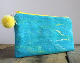 Hand Marbled Zip Pouch - Blue & Yellow - item #8047