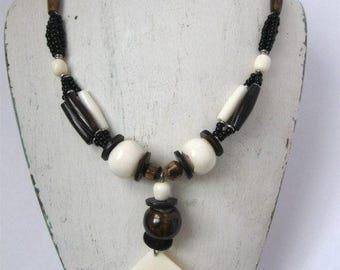 vintage necklace, 1980s, 12 3/4 inches long, brown black cream, pendant, with beads, plastic, steampunk, rustic look, rosesandbutterflies
