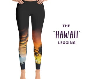 Hawaii Leggings, Palm Trees Leggings, Tropical Yoga Pants, Palm Tree Yoga Leggings, Running Pants, Leggings, Sunset Leggings