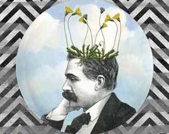 Pot head melamine plate, Dandelion I pothead, sky