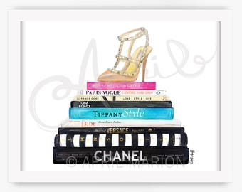 Valentino and Books Print | Chanel, Dior, Tiffany, Style, YSL, Fashion Illustration, Drawing, Present, Wall Art, Custom Illustration