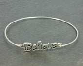 Believe Bangle Bracelet - Sterling Silver Filled -stacking Inspiration Faith New