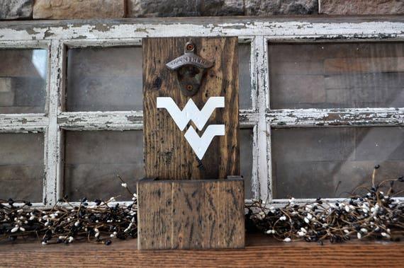 WV, West Virginia Rustic Wood Bottle Opener with cap catcher