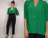 HUGE 10 dollar SALE Vintage Green Silk Overized Shirt minimalist