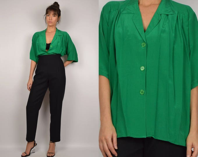 Vintage Green Silk Overized Shirt