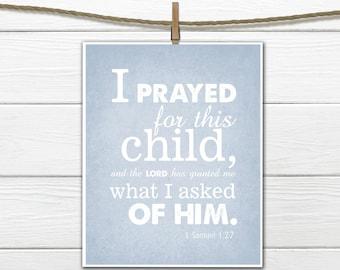 Bible Verse Nursery Print 1 Samuel 1:27 PDF Digital Download
