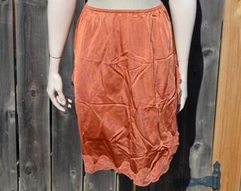 Burnt Orange Slip, Size M, Women's Half Slip, Flair Vintage Slip, Ladies' Undergarment, Size Medium, FREE SHIPPING, Beige, Orange