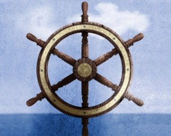 Maritime Nautical Captain Wheel Wall Art Room Decor Print for Nursey, Big Kid Girl or Boy, Office, Kitchen, Living Room, Bedroom Artwork