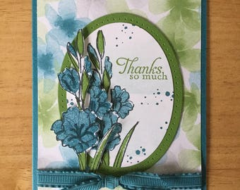 Stampin Up handmade Thank you card - Thanks so much with blue springs flowers