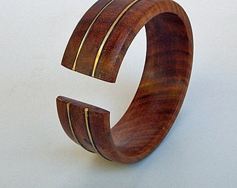 Open Cuff Wood Bracelet with Brass - Cuff Beauty
