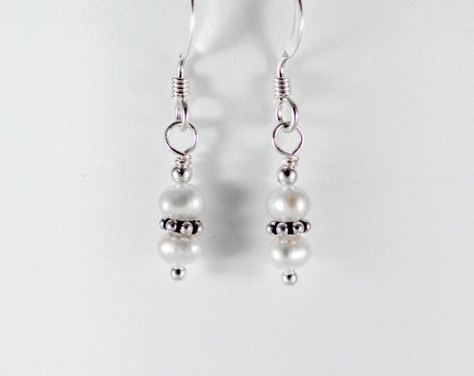 White Fresh Water Pearl Earrings - 4mm Stacked