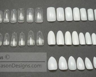 Unpainted Acrylic Nail Sets, Square Natural, Square Clear, Oval Natural, Oval Clear, Stiletto Natural, Toe Nails Natural, Toe Nails Clear