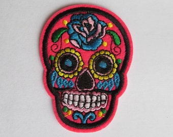 Neon Pink Sugar Skull Patch, Day of the dead patch - iron on or sew on