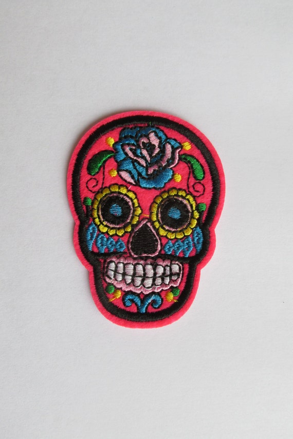 Neon Pink Sugar Skull Patch Day Of The Dead Patch Iron