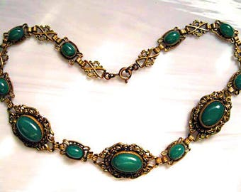 Nouveau Chrysophrase Choker, Translucent Green Stones, Vintage Brass Links, Austro-Hungary Early 1900s Czech, Victorian Revival Necklace